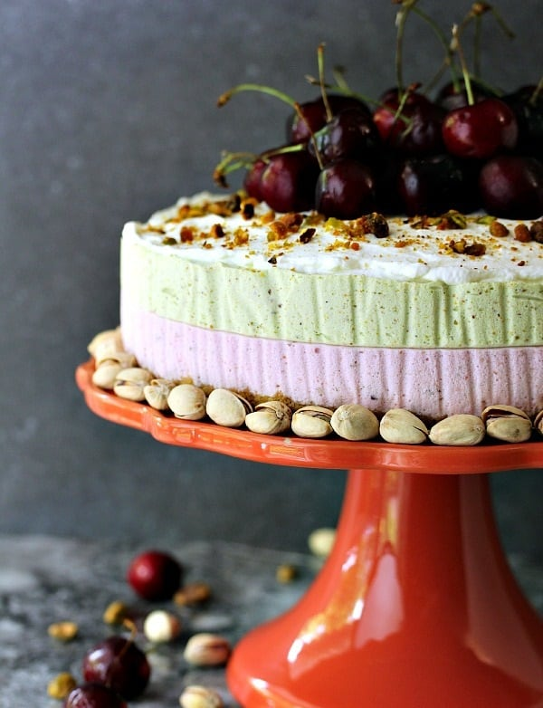 Low Carb No Bake Pistachio & Cherry Cheesecake