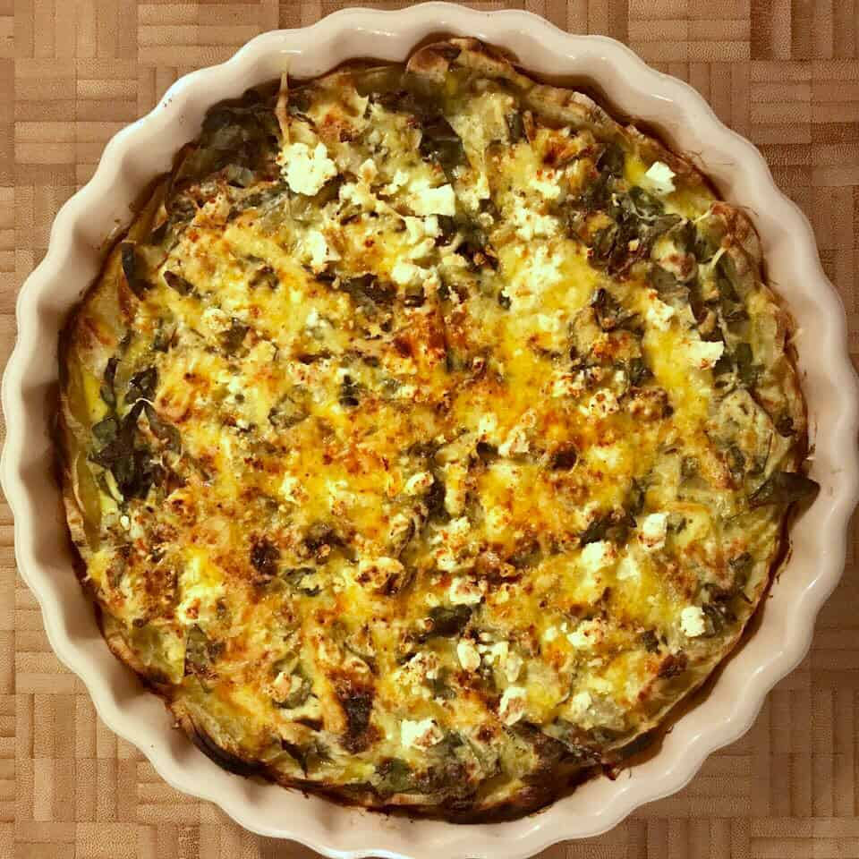 Spinach & Artichoke Sweet Potato Quiche